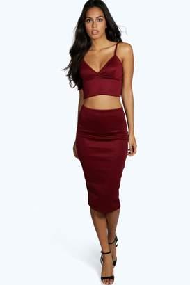 boohoo Mya Scuba Cross Bralet & Midi Skirt Co-Ord Set