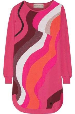 Emilio Pucci Metallic Jacquard-Knit Wool-Blend Mini Dress