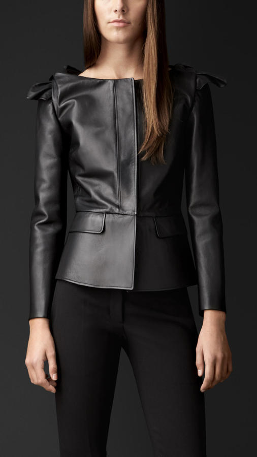 Burberry Knotted Shoulder Leather Jacket