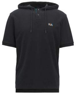 BOSS Hugo Relaxed-fit polo shirt in cotton pique hood L Black