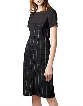 HUGO BOSS Shift Dress In Checked Fabric With Solid-Colour Sleeves