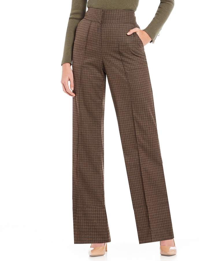 Gianni Bini Moana Plaid Print Wide Leg Pant