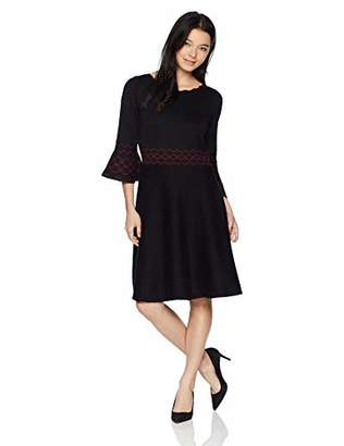 Gabby Skye Women's Petite 3/4 Bell Sleeve Round Neck Sweater Fit&Flare Dress