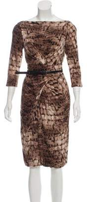 Max Mara Belted Animal Print Dress