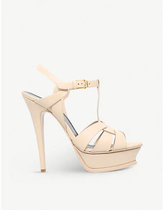 Saint Laurent Tribute Sand 105 leather platform sandals
