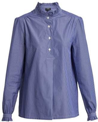 A.P.C. Saint Germain Ruffle Detailed Striped Cotton Shirt - Womens - Blue