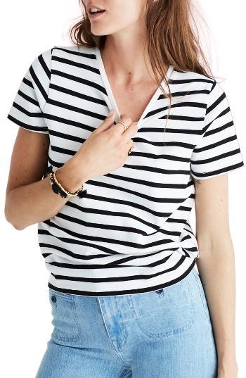 Women's Madewell Stripe Tie Back Tee
