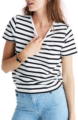 Women's Madewell Stripe Tie Back Tee $49.50 thestylecure.com