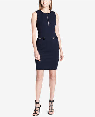 Calvin Klein Zipper-Trim Sheath Dress