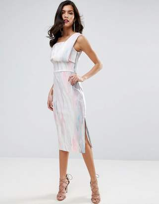 ASOS Marble Fold One Shoulder Midi Pencil Dress $83 thestylecure.com