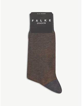 Falke Mens Grey Melange Fine Shadow Cotton-Blend Socks