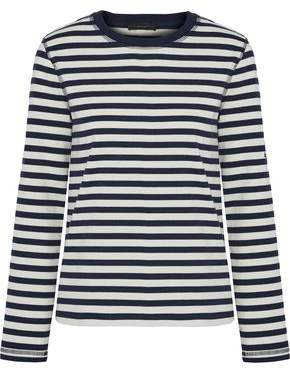 Belstaff Christina Embroidered Striped Cotton-Jersey Top