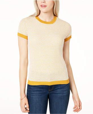 Maison Jules Honeycomb Short-Sleeve Sweater