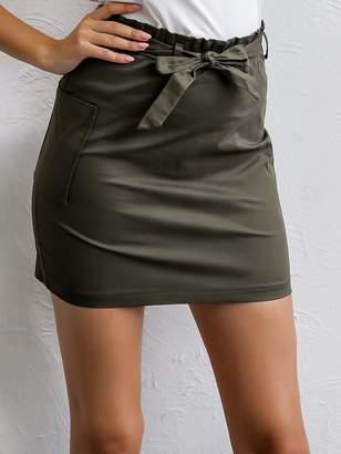 Shein Joyfunear Bow Tie Waist Pocket Side Skirt