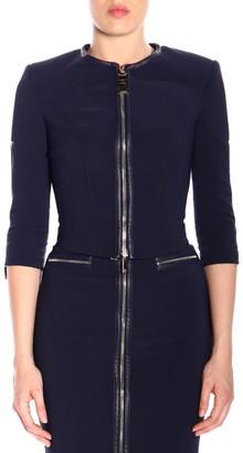 Elisabetta Franchi Celyn B. Blazer Crew-neck Jacket In Bi-elastic Fabric With Zip