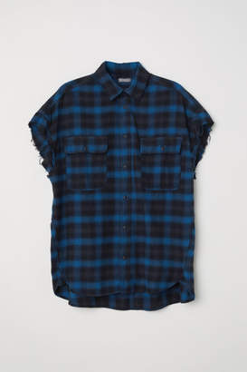 H&M Short-sleeved Flannel Shirt - Blue