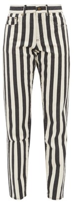 Saint Laurent Striped Mid Rise Slim Leg Jeans - Womens - Black White