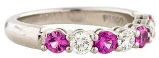 Tiffany & Co. Platinum Diamond & Pink Sapphire Embrace Band