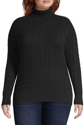ST. JOHN'S BAY Cable Turtleneck Sweater - Plus