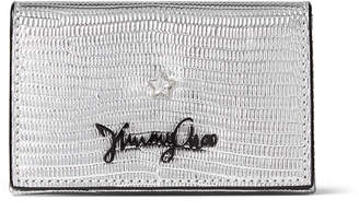 Jimmy Choo ZURI Silver Metalized Lizard Print Leather Card Holder