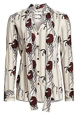 Chloé Women's Viscose Jersey Horse Print Button Blouse