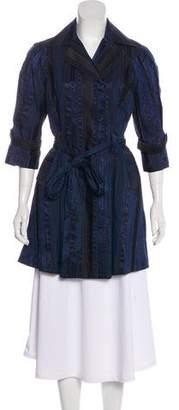 Diane von Furstenberg Stripe Printed Trench Coat