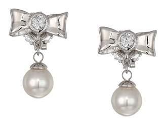 Majorica Romance 6 mm Pearls Post CZ Sterling Silver Earrings