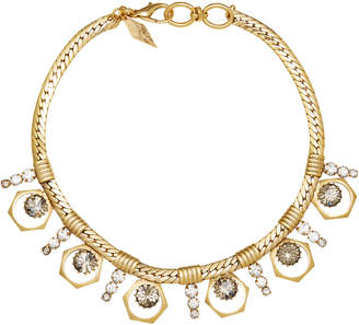 Nicole Romano 18K Gold-Plated Bolt And Stacked Crystal Necklace