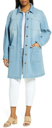 Lafayette 148 New York Corinthia Longline Chambray Jacket