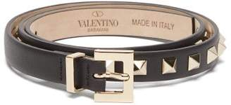 Valentino Rockstud Leather Belt - Womens - Black