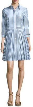 Michael Kors Collection Button-Front Double-Cuff Shirtdress, Indigo/White $1,595 thestylecure.com