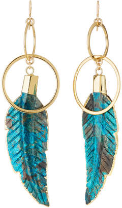 Devon Leigh Double-Link & Carved Feather Earrings