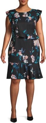 Adrianna Papell Plus Royal Vines Printed Sheath Dress