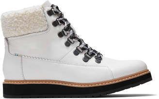 Waterproof White Leather and Faux Plush Shearling Women's Mesa Boots