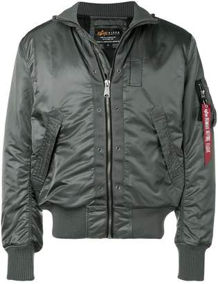 Alpha Industries ruched sleeves bomber jacket