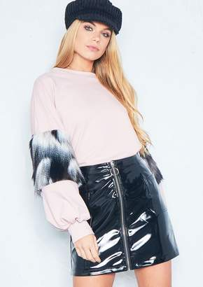 Missy Empire Missyempire Helen Pink Monochrome Faux Fur Sleeve Jumper