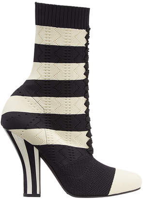 Fendi striped perforated boots