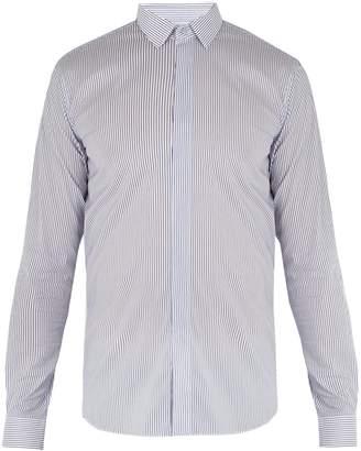 Valentino Convertible-cuff striped cotton-blend shirt