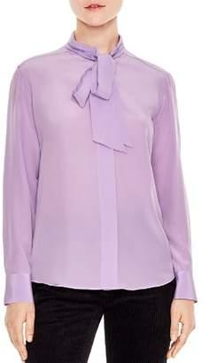 Sandro Eugenia Tie-Neck Silk Shirt