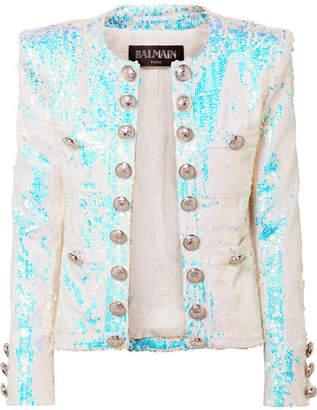 Balmain Button-embellished Sequined Twill Blazer