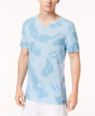 GUESS Men's Split-Neck Leaf-Print T-Shirt