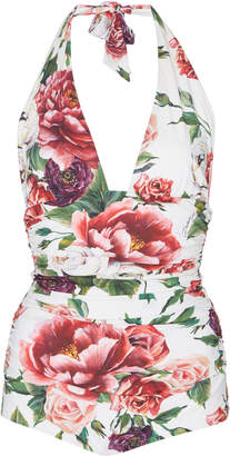 Dolce & Gabbana Floral Deep V One-Piece Swimsuit