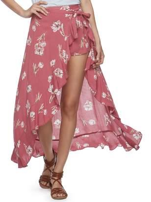 Vanilla Star Juniors' Ruffled Floral Walk-Through Maxi Skirt