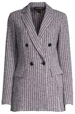 St. John Women's Contrast Geometric Knit Wool-Blend Jacket - Grey Navy Multi - Size 0