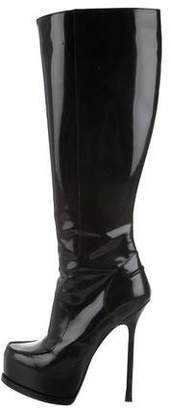 Saint Laurent Patent Leather Platform Boots