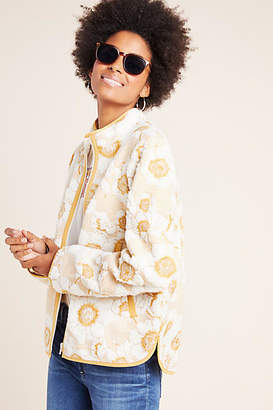 Anthropologie Tilly Embroidered Sherpa Jacket