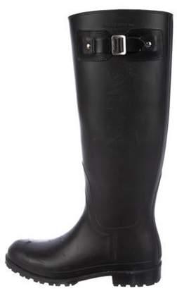 Saint Laurent Rubber Knee-High Boots Black Rubber Knee-High Boots
