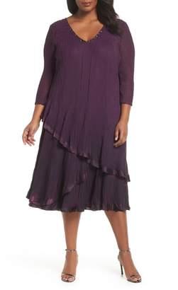 Komarov Chiffon Overlay Midi Dress