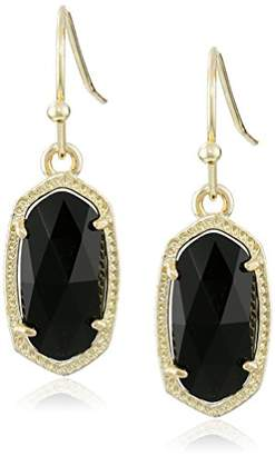 "Kendra Scott Signature"" Lee Gold plated Black Glass Drop Earrings"