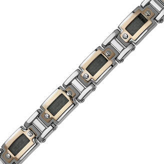JCPenney FINE JEWELRY Mens Stainless Steel & Rose-Tone IP Link Bracelet